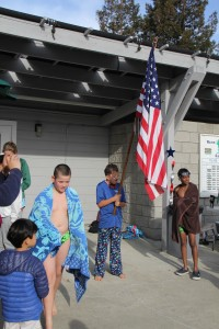 For our swim meet close to 4th of July Milo helped with the flag ceremony.