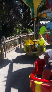 Side note.... before we left I had this fab idea to wear super bright shirts so we could easily identify each other...  Apparently Six Flags thought the same thing because our shirts were the same color as the employee's shirts (look above Keri's head...).  O'well!