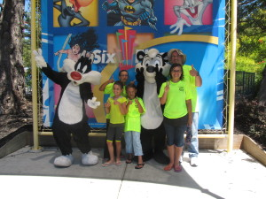 We took pictures with lots of Loony Toons Characters