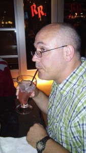 Scott enjoying his lemonade.