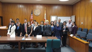 The whole team in the court room after their first trial.