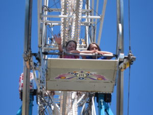 Sydney and Keri on the ferris wheel.